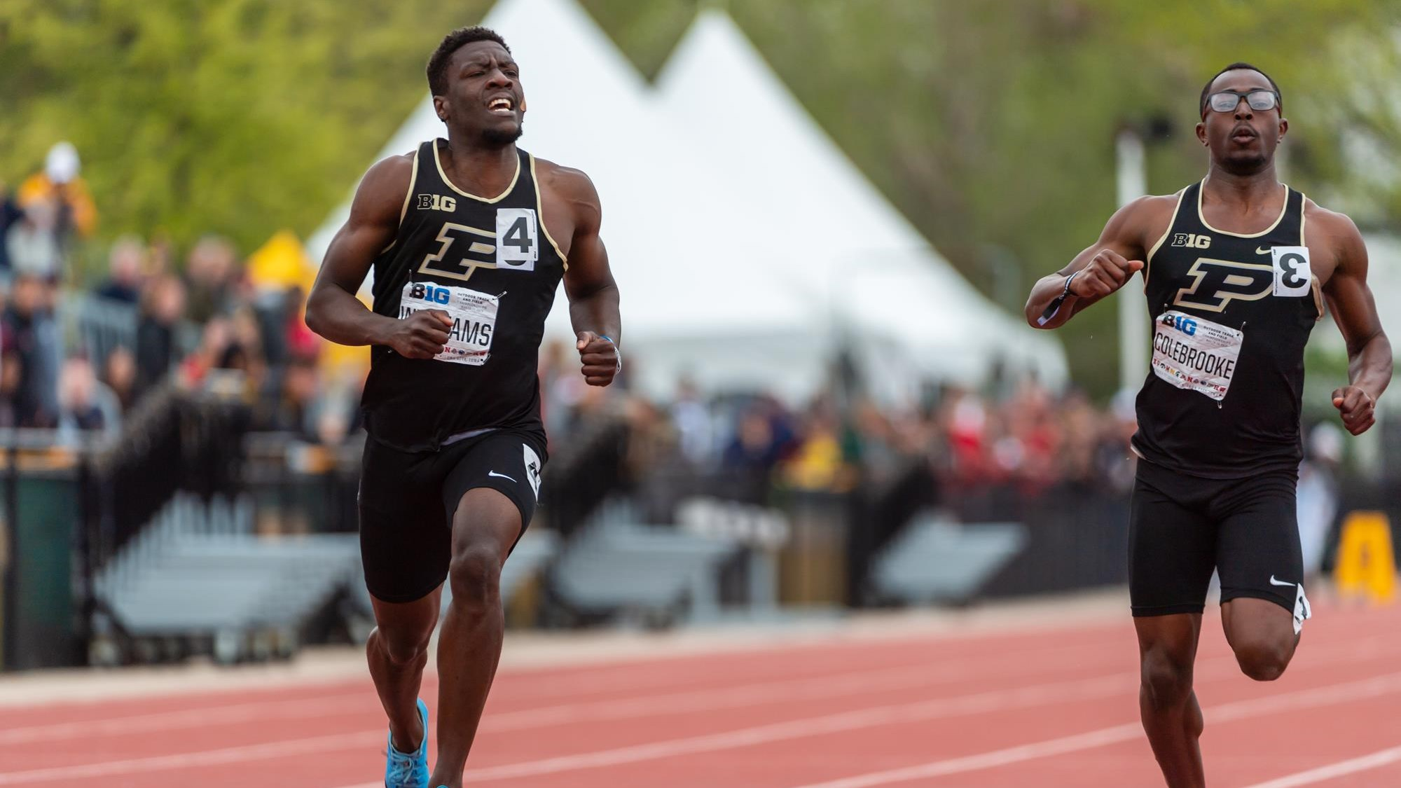 Two members of the track and field team for Purdue