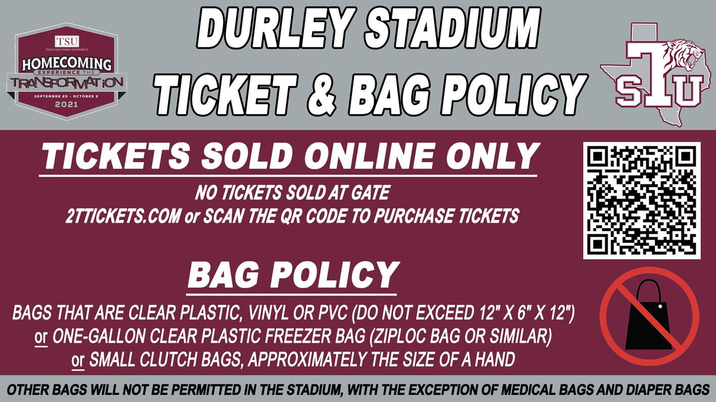 Homecoming Football Game Tickets Sold Online Only, Durley Stadium Bag Policy In Place