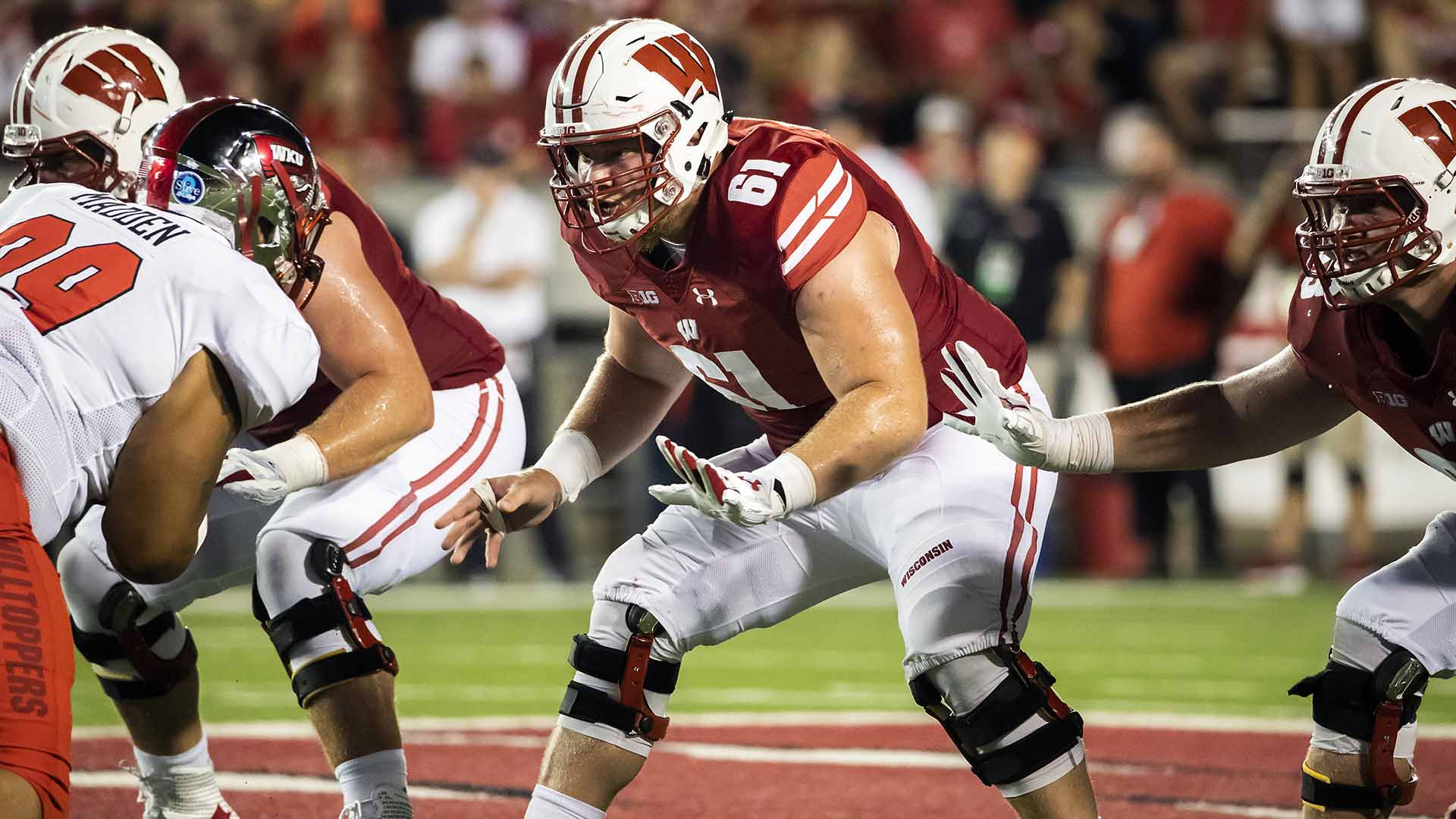 Wisconsin Badgers offensive lineman Tyler Biadasz (61) during an NCAA college football game against the Western Kentucky Hilltoppers Friday, August 31, 2018, in Madison, Wisconsin. The Badgers won 34-3. (Photo by David Stluka)
