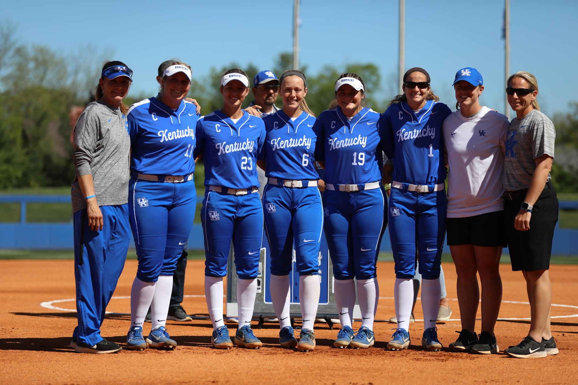 Some members of the softball team at UK